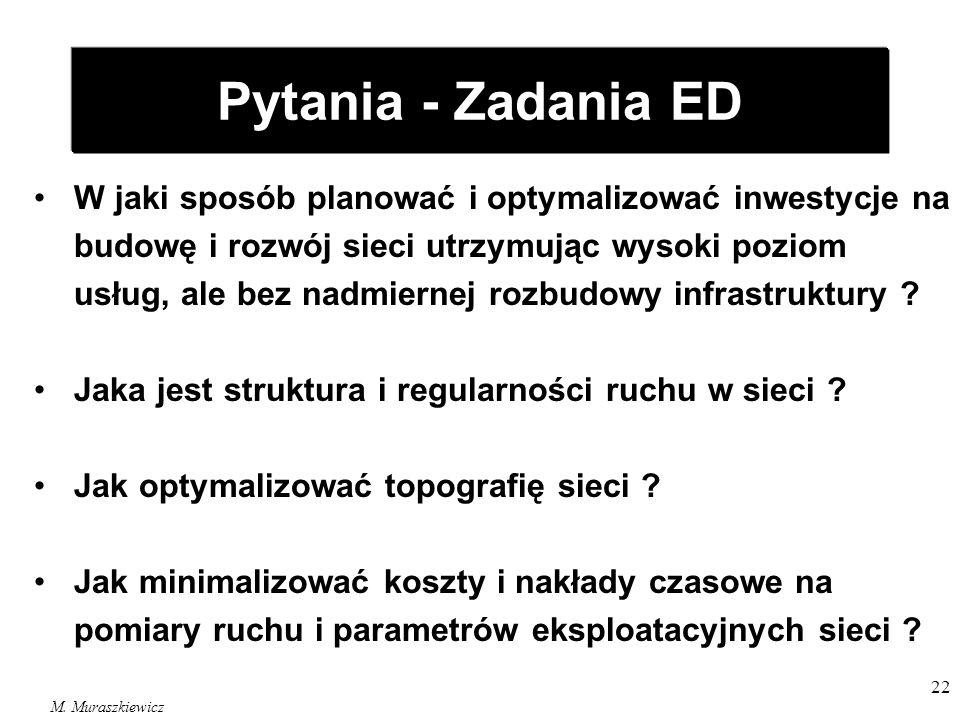 M. Muraszkiewicz 22 Pytania - Zadania ED W jaki sposób planować i optymalizować inwestycje na budowę i rozwój sieci utrzymując wysoki poziom usług, al