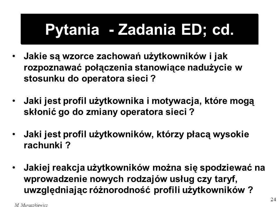 M. Muraszkiewicz 24 Pytania - Zadania ED; cd. Jakie są wzorce zachowań użytkowników i jak rozpoznawać połączenia stanowiące nadużycie w stosunku do op