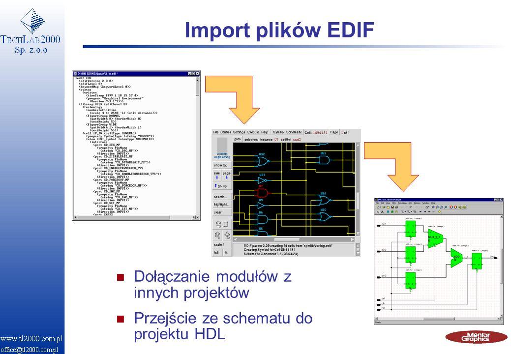 Import plików EDIF n Dołączanie modułów z innych projektów n Przejście ze schematu do projektu HDL