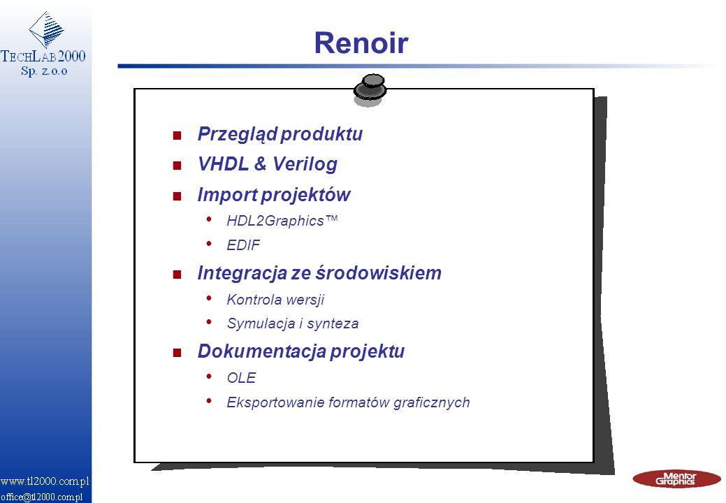 Renoir n Przegląd produktu n VHDL & Verilog n Import projektów HDL2Graphics EDIF n Integracja ze środowiskiem Kontrola wersji Symulacja i synteza n Do