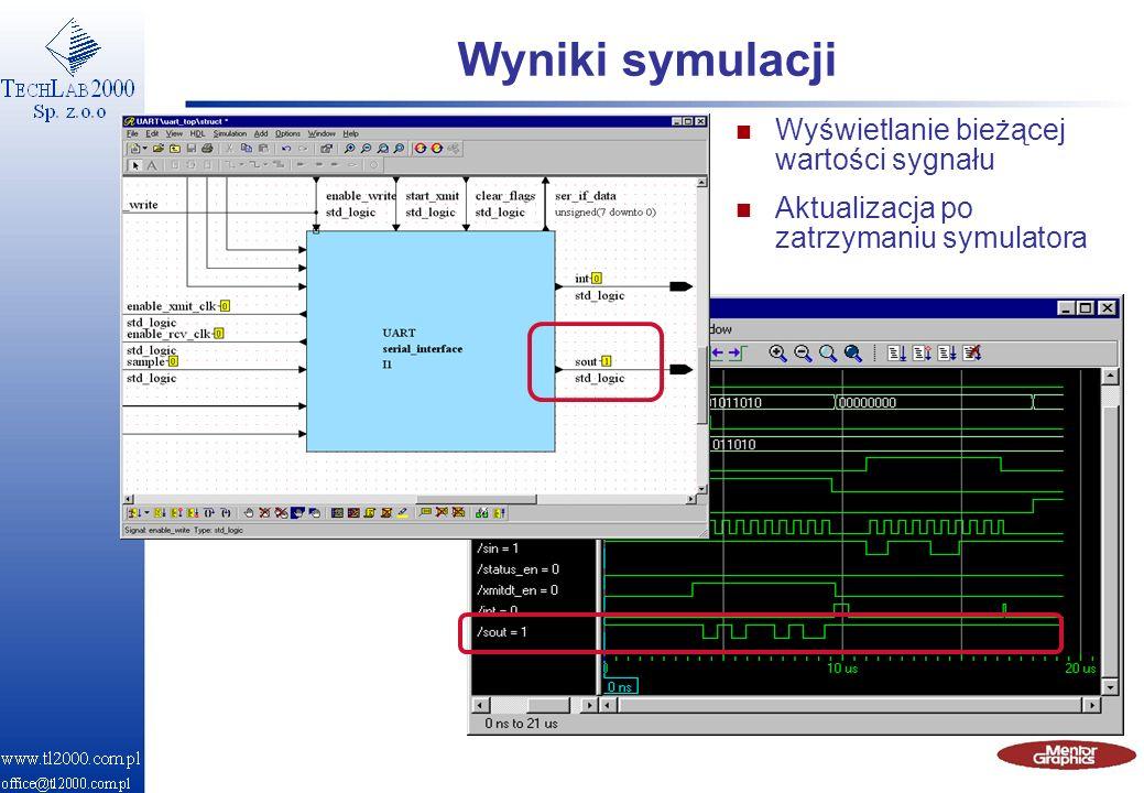 Wyniki symulacji n Wyświetlanie bieżącej wartości sygnału n Aktualizacja po zatrzymaniu symulatora