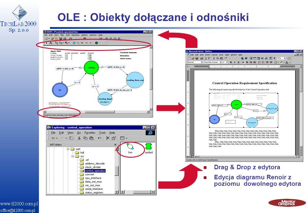 OLE : Obiekty dołączane i odnośniki n Drag & Drop z edytora n Edycja diagramu Renoir z poziomu dowolnego edytora