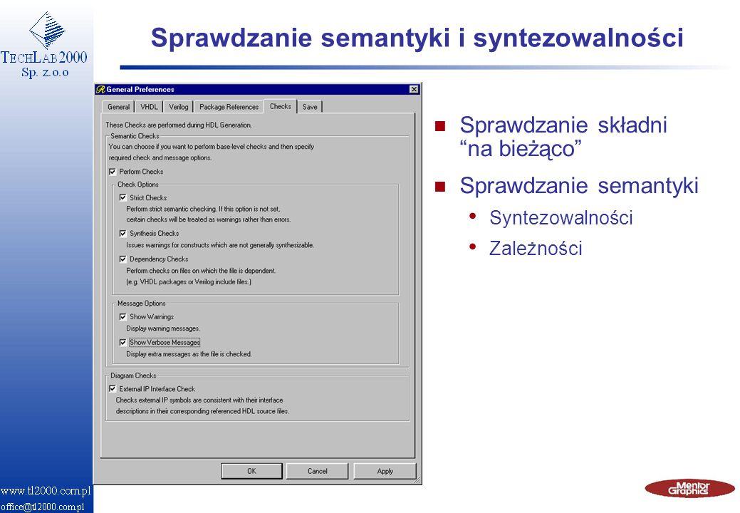 Generacja Pliki HDL Kompilacja Skompilowane pliki symulatora Symulator HDL Wywołanie środowiska testującego Przetwarzanie i weryfikacja projektu n Automatyczna i stopniowa kompilacja i weryfikacja (VHDL & Verilog) n Wizualizacja przepływu sygnałów w trakcie symulacji Integracja Diagramy