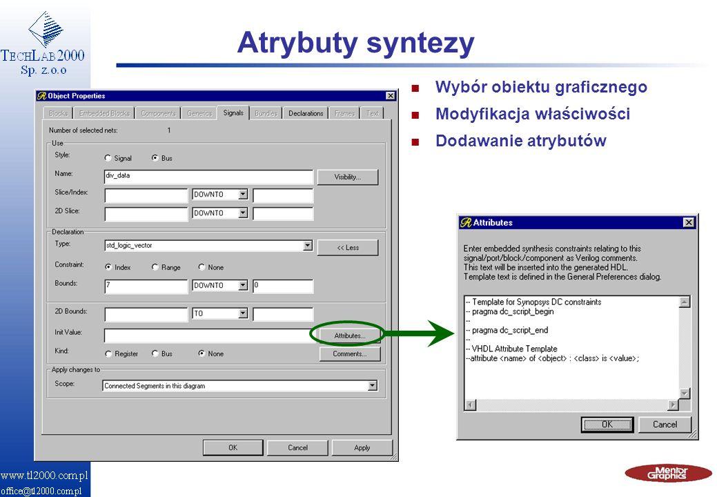 Atrybuty syntezy n Wybór obiektu graficznego n Modyfikacja właściwości n Dodawanie atrybutów