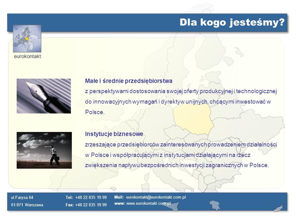 eurokontakt ul.Farysa 64 01-971 Warszawa Tel: +48 22 835 19 99 Fax: +48 22 835 19 99 Mail: eurokontakt@eurokontakt.com.pl www: www.eurokontakt.com.pl Dlaczego Polska.