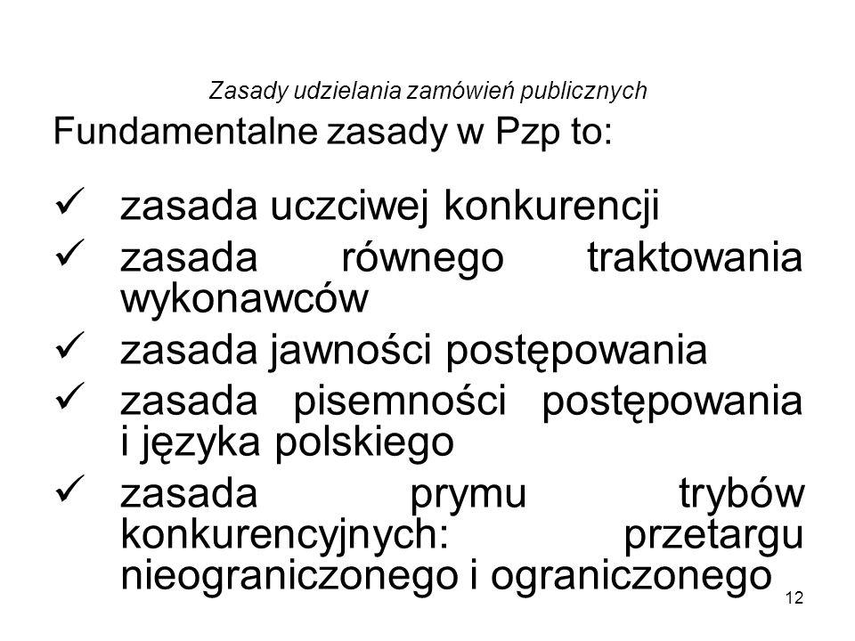 12 Zasady udzielania zamówień publicznych Fundamentalne zasady w Pzp to: zasada uczciwej konkurencji zasada równego traktowania wykonawców zasada jawn