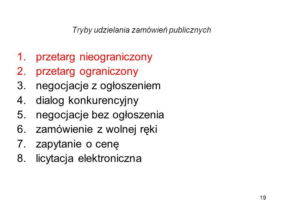 19 Tryby udzielania zamówień publicznych 1.przetarg nieograniczony 2.przetarg ograniczony 3.negocjacje z ogłoszeniem 4.dialog konkurencyjny 5.negocjac