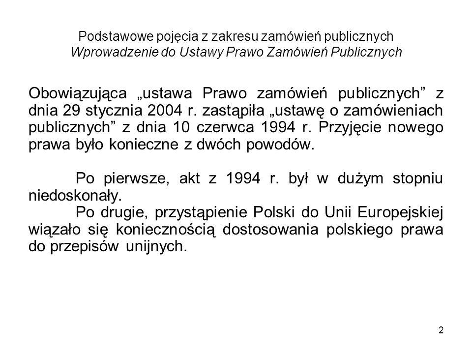 3 Podstawowe pojęcia z zakresu zamówień publicznych Wprowadzenie do Ustawy Prawo Zamówień Publicznych Ustawa z dnia 29 stycznia 2004 r.
