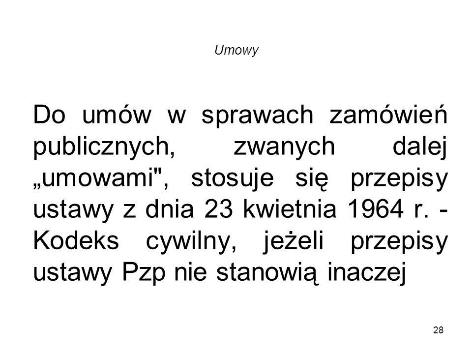 Umowy 28 Do umów w sprawach zamówień publicznych, zwanych dalej umowami