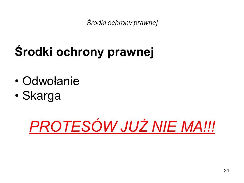 Środki ochrony prawnej Odwołanie Skarga PROTESÓW JUŻ NIE MA!!! 31