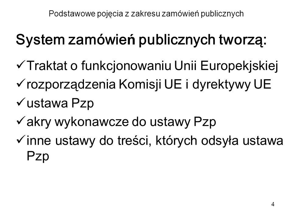 4 Podstawowe pojęcia z zakresu zamówień publicznych System zamówie ń publicznych tworzą: Traktat o funkcjonowaniu Unii Europekjskiej rozporz ą dzenia