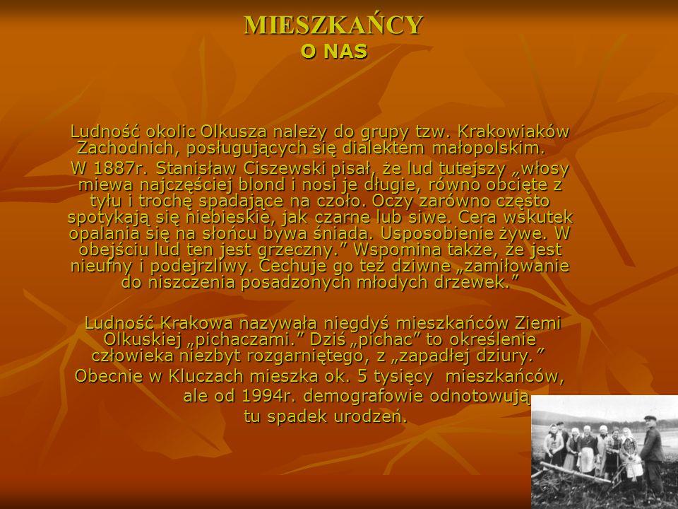 Ludność okolic Olkusza należy do grupy tzw. Krakowiaków Zachodnich, posługujących się dialektem małopolskim. Ludność okolic Olkusza należy do grupy tz