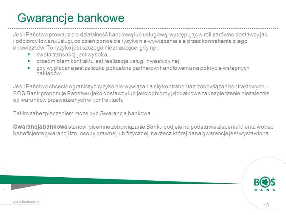 Gwarancje bankowe Jeśli Państwo prowadzicie działalność handlową lub usługową, występując w roli zarówno dostawcy jak i odbiorcy towaru/usługi, co dzi