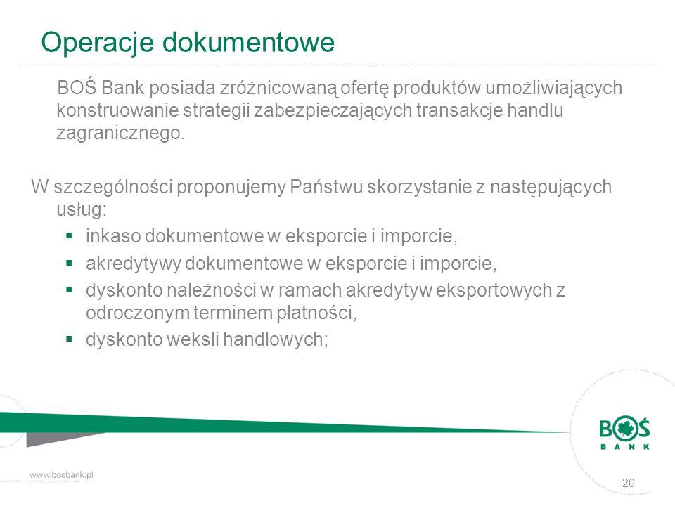 Operacje dokumentowe BOŚ Bank posiada zróżnicowaną ofertę produktów umożliwiających konstruowanie strategii zabezpieczających transakcje handlu zagran
