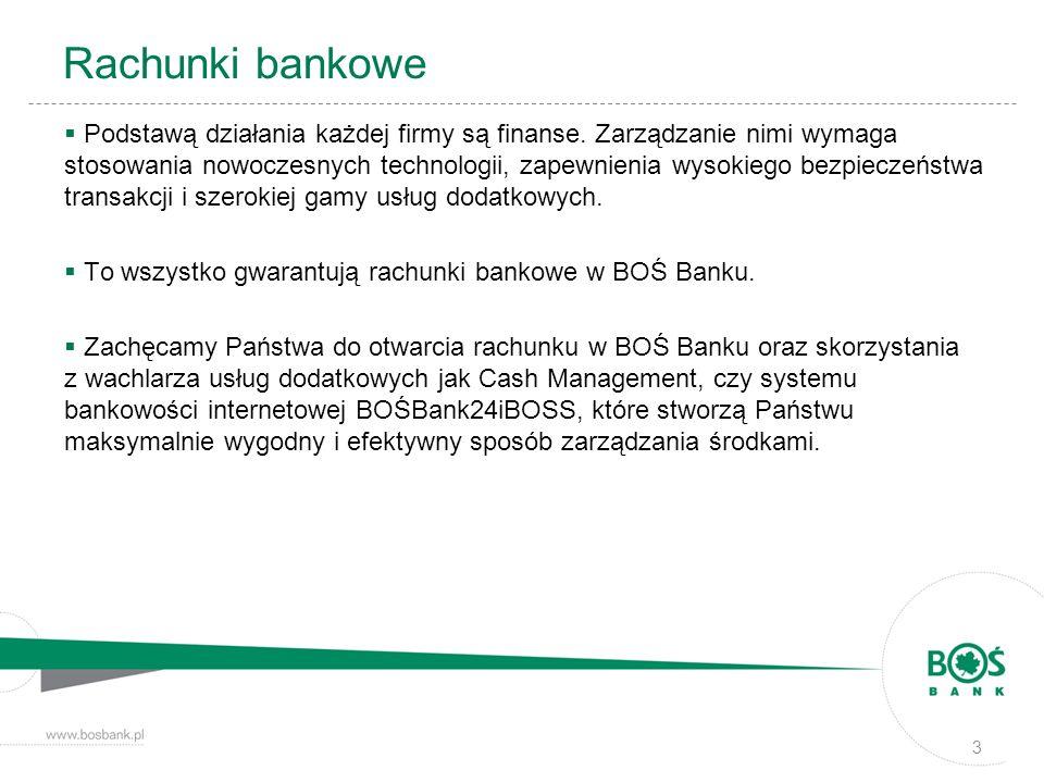 Rachunki bankowe Podstawą działania każdej firmy są finanse. Zarządzanie nimi wymaga stosowania nowoczesnych technologii, zapewnienia wysokiego bezpie