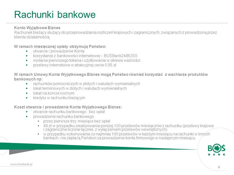 Rachunki bankowe Konto Wyjątkowe Biznes Rachunek bieżący służący do przeprowadzania rozliczeń krajowych i zagranicznych, związanych z prowadzoną przez