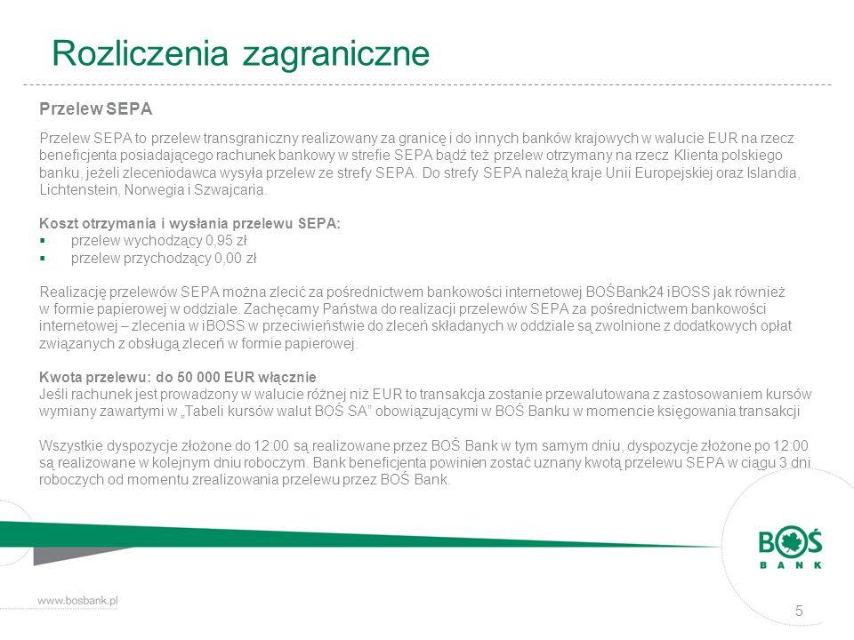 Rozliczenia zagraniczne Przelew SEPA Przelew SEPA to przelew transgraniczny realizowany za granicę i do innych banków krajowych w walucie EUR na rzecz