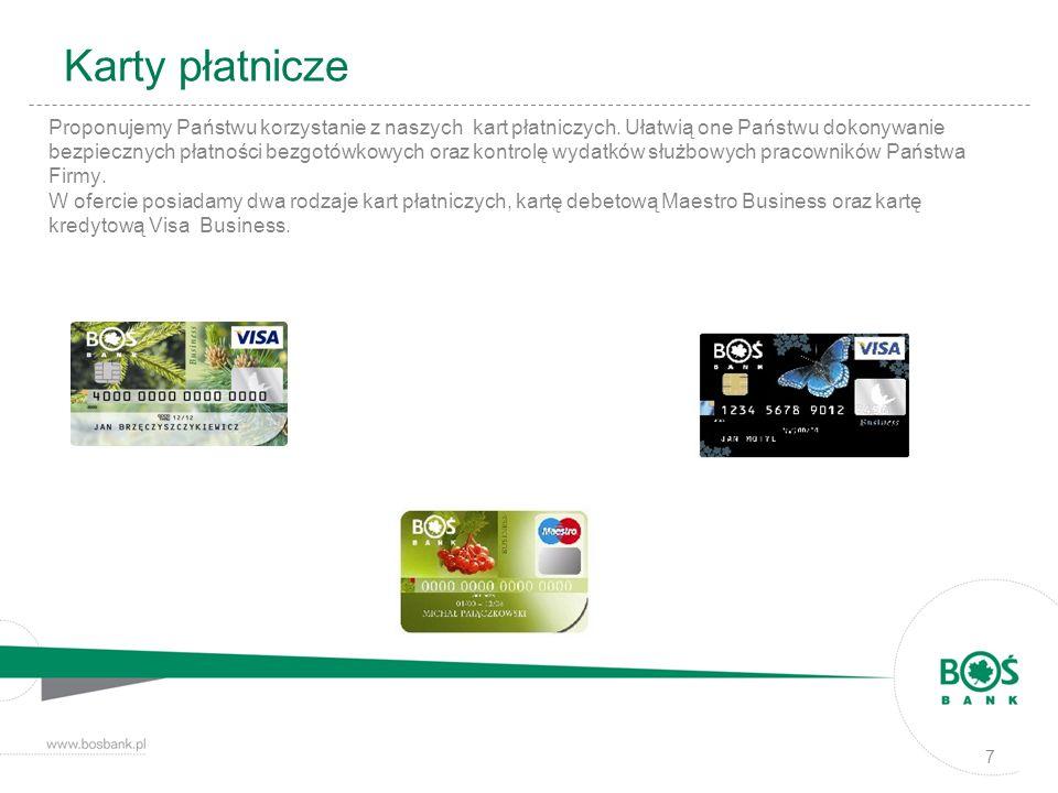Karty płatnicze Proponujemy Państwu korzystanie z naszych kart płatniczych. Ułatwią one Państwu dokonywanie bezpiecznych płatności bezgotówkowych oraz