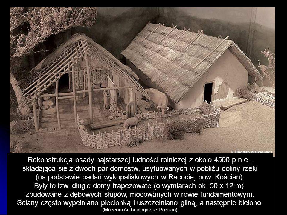 Rekonstrukcja osady najstarszej ludności rolniczej z około 4500 p.n.e., składająca się z dwóch par domostw, usytuowanych w pobliżu doliny rzeki (na po