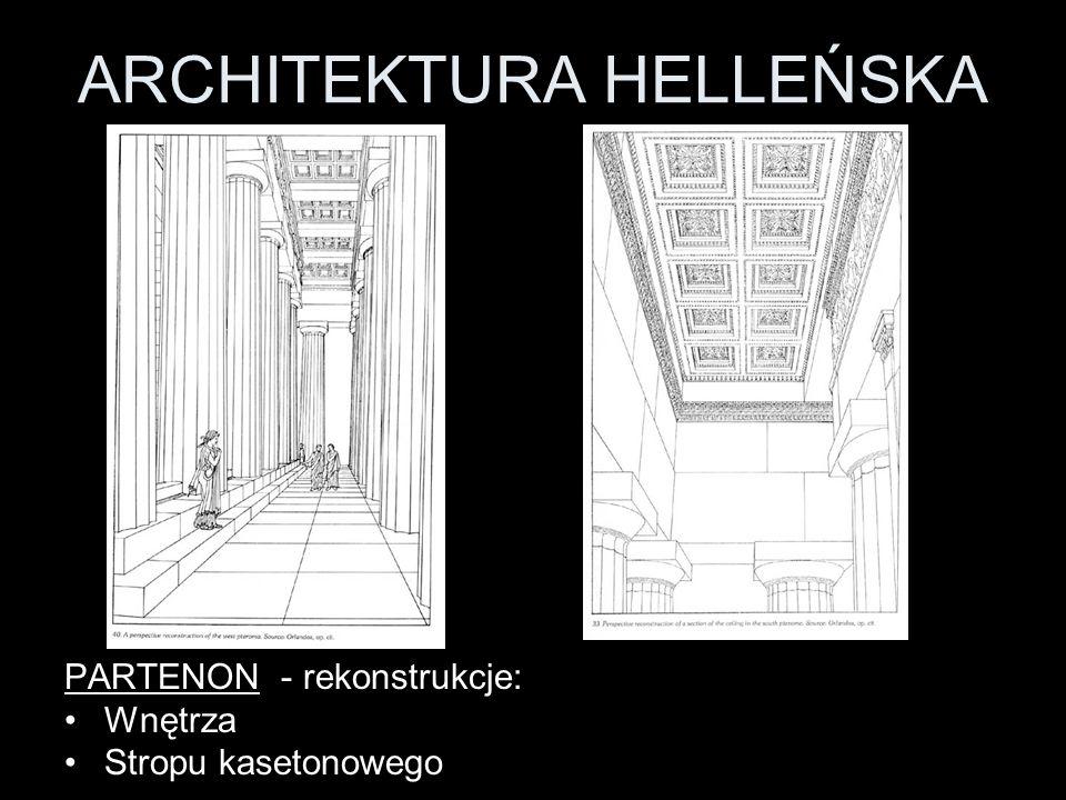 ARCHITEKTURA HELLEŃSKA PARTENON - rekonstrukcje: Wnętrza Stropu kasetonowego