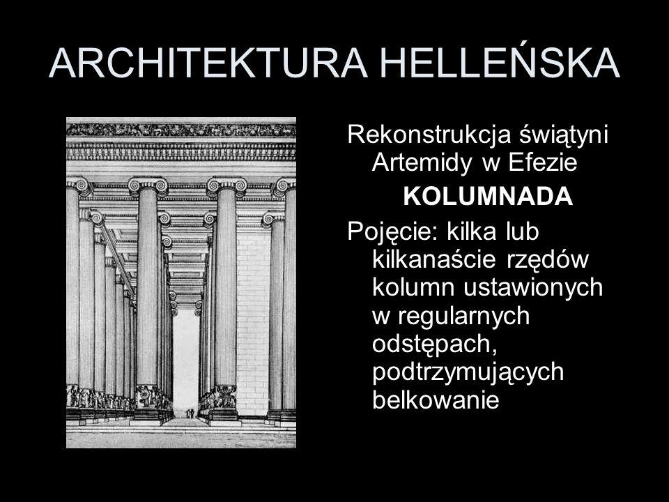 ARCHITEKTURA HELLEŃSKA Rekonstrukcja świątyni Artemidy w Efezie KOLUMNADA Pojęcie: kilka lub kilkanaście rzędów kolumn ustawionych w regularnych odstę