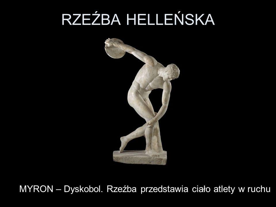 RZEŹBA HELLEŃSKA MYRON – Dyskobol. Rzeźba przedstawia ciało atlety w ruchu
