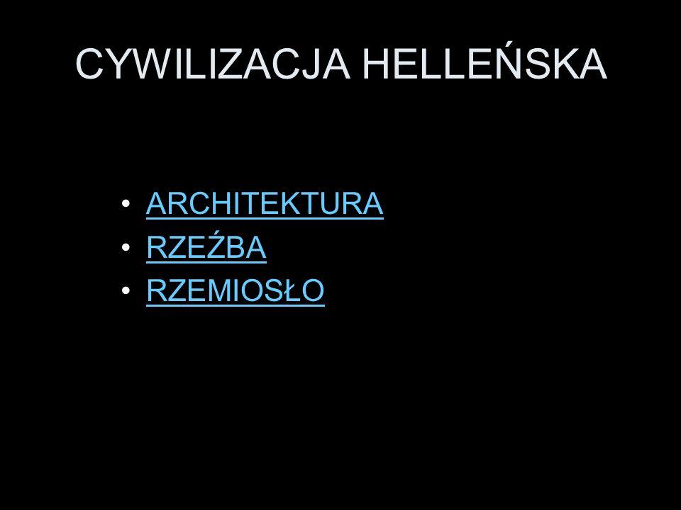 GRECJA HELLENISTYCZA ARCHITEKTURA Powstają miasta wzorowane na planie miast greckich - zakładano je na geometrycznym planie z wyraźnie zaznaczonymi granicami dzielnic mieszkalnych, handlowych, reprezentacyjnych i terenów rekreacyjnych.