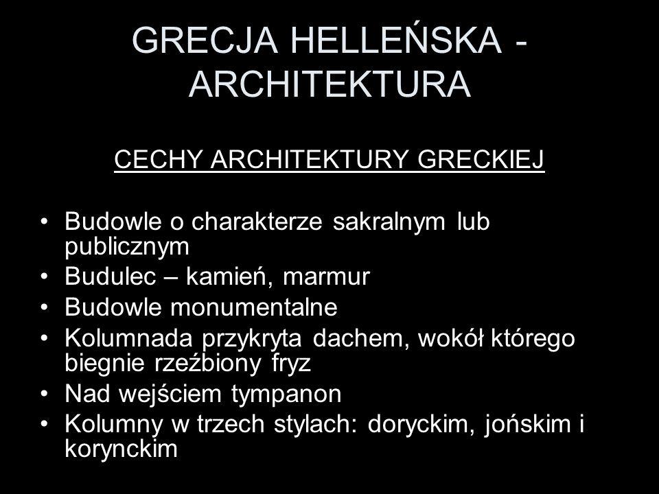 GRECJA HELLEŃSKA - ARCHITEKTURA Kolumna dorycka z belkowaniem a.
