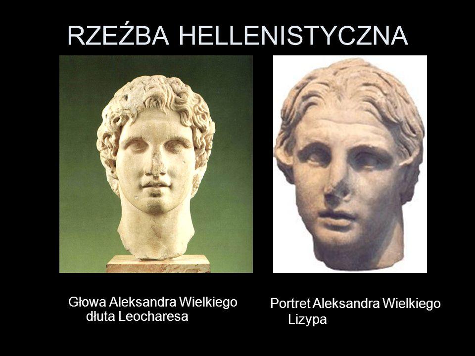 RZEŹBA HELLENISTYCZNA Głowa Aleksandra Wielkiego dłuta Leocharesa Portret Aleksandra Wielkiego Lizypa