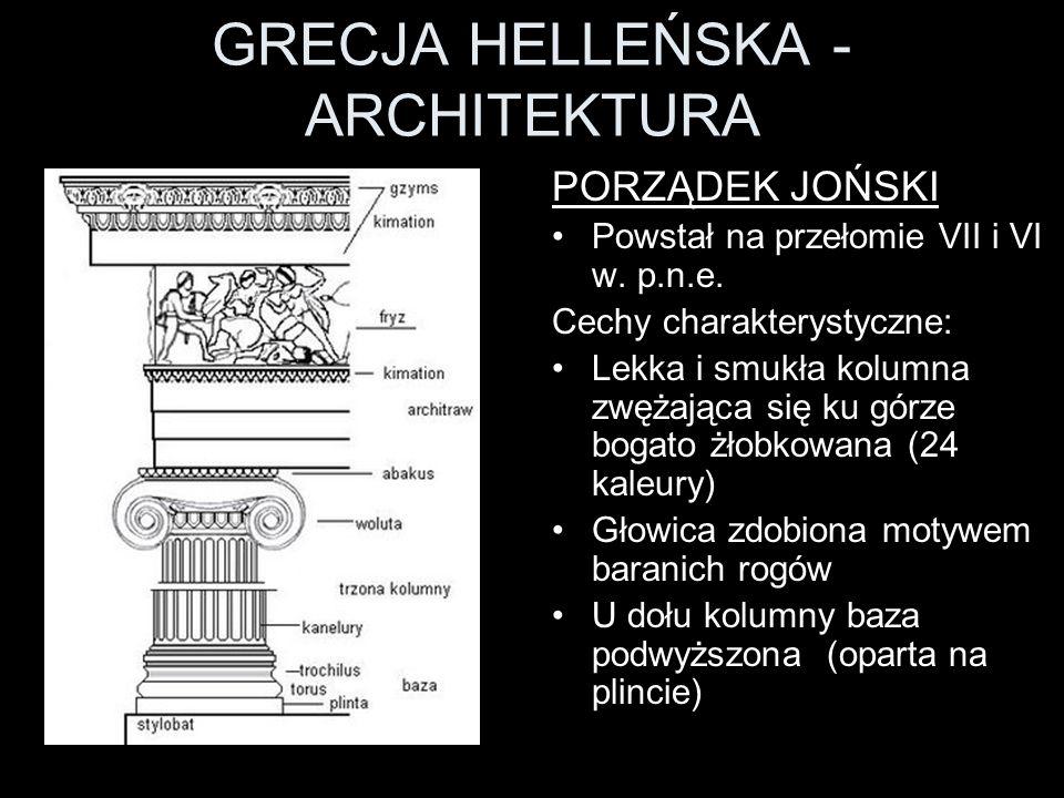 GRECJA HELLEŃSKA - ARCHITEKTURA PORZĄDEK JOŃSKI Powstał na przełomie VII i VI w. p.n.e. Cechy charakterystyczne: Lekka i smukła kolumna zwężająca się