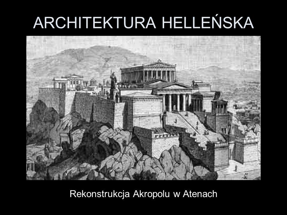 ARCHITEKTURA HELLEŃSKA Rekonstrukcja świątyni Artemidy w Efezie KOLUMNADA Pojęcie: kilka lub kilkanaście rzędów kolumn ustawionych w regularnych odstępach, podtrzymujących belkowanie