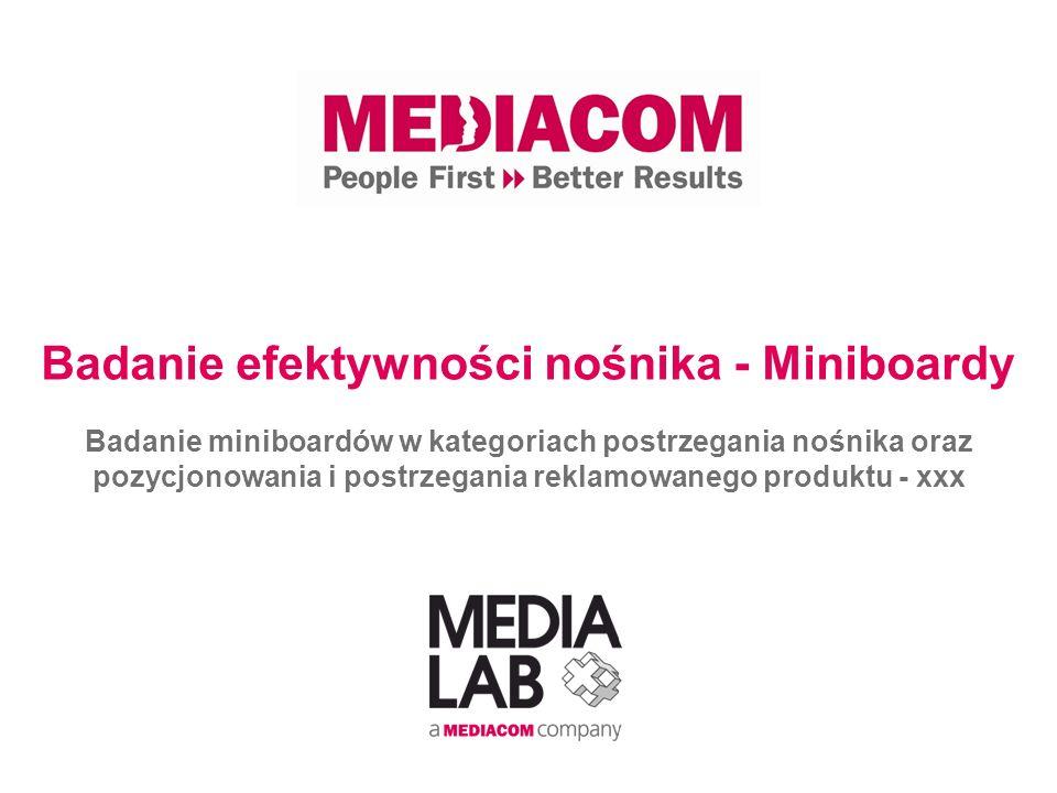 Badanie efektywności nośnika - Miniboardy Badanie miniboardów w kategoriach postrzegania nośnika oraz pozycjonowania i postrzegania reklamowanego prod