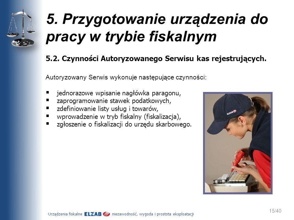 Urządzenia fiskalne niezawodność, wygoda i prostota eksploatacji 15/40 5. Przygotowanie urządzenia do pracy w trybie fiskalnym 5.2. Czynności Autoryzo