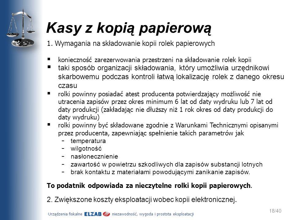Urządzenia fiskalne niezawodność, wygoda i prostota eksploatacji 18/40 Kasy z kopią papierową 1. Wymagania na składowanie kopii rolek papierowych koni