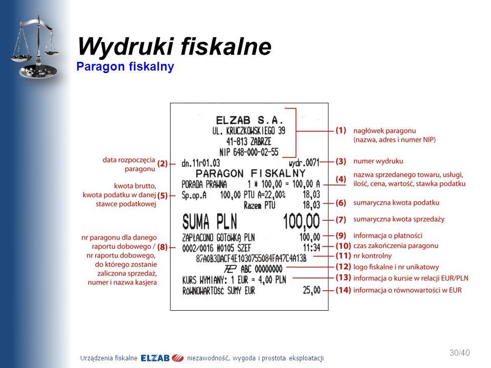 Urządzenia fiskalne niezawodność, wygoda i prostota eksploatacji 30/40 Wydruki fiskalne Paragon fiskalny