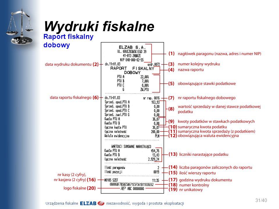 Urządzenia fiskalne niezawodność, wygoda i prostota eksploatacji 31/40 Wydruki fiskalne Raport fiskalny dobowy