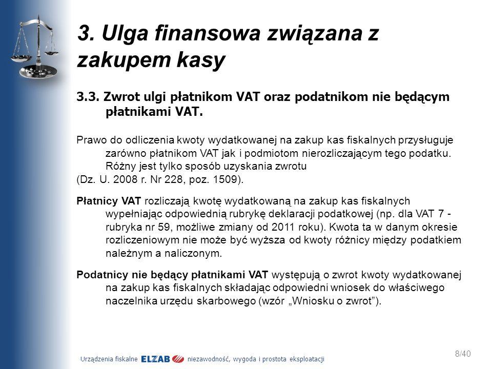 Urządzenia fiskalne niezawodność, wygoda i prostota eksploatacji 8/40 3.3. Zwrot ulgi płatnikom VAT oraz podatnikom nie będącym płatnikami VAT. Prawo