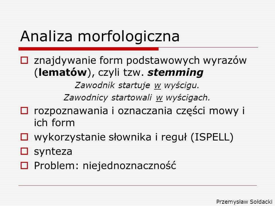 Przemysław Sołdacki Analiza morfologiczna znajdywanie form podstawowych wyrazów (lematów), czyli tzw. stemming Zawodnik startuje w wyścigu. Zawodnicy
