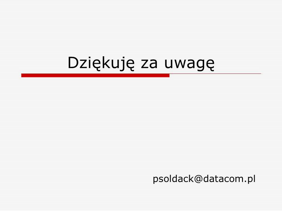 Dziękuję za uwagę psoldack@datacom.pl