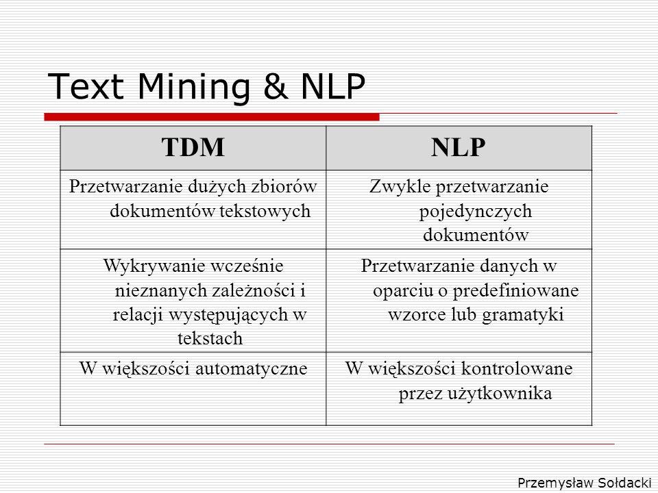 Przemysław Sołdacki Text Mining & NLP TDMNLP Przetwarzanie dużych zbiorów dokumentów tekstowych Zwykle przetwarzanie pojedynczych dokumentów Wykrywani
