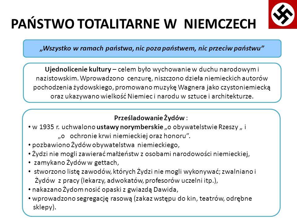 PAŃSTWO TOTALITARNE W NIEMCZECH Prześladowanie Żydów : w 1935 r. uchwalono ustawy norymberskie o obywatelstwie Rzeszy i o ochronie krwi niemieckiej or