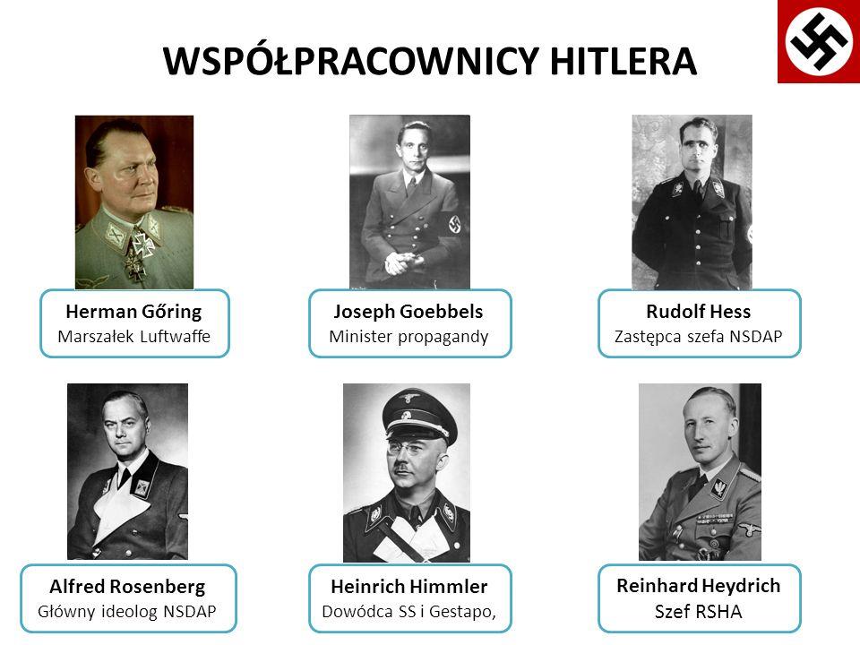 WSPÓŁPRACOWNICY HITLERA Herman Gőring Marszałek Luftwaffe Alfred Rosenberg Główny ideolog NSDAP Reinhard Heydrich Szef RSHA Heinrich Himmler Dowódca S