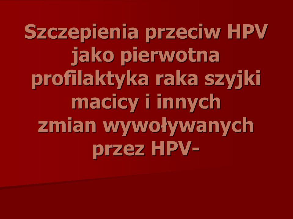 Szczepienia przeciw HPV jako pierwotna profilaktyka raka szyjki macicy i innych zmian wywoływanych przez HPV-
