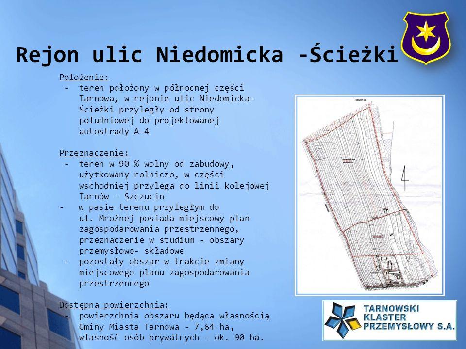 Położenie: - teren położony w północnej części Tarnowa, w rejonie ulic Niedomicka- Ścieżki przyległy od strony południowej do projektowanej autostrady