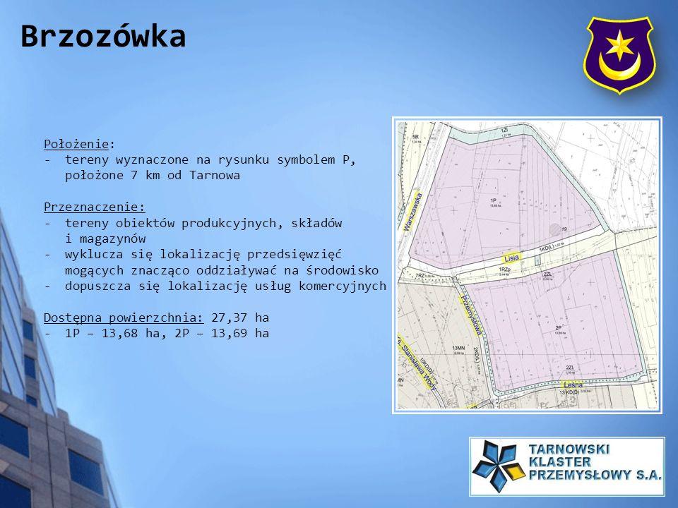 Położenie: - tereny wyznaczone na rysunku symbolem P, położone 7 km od Tarnowa Przeznaczenie: - tereny obiektów produkcyjnych, składów i magazynów - w