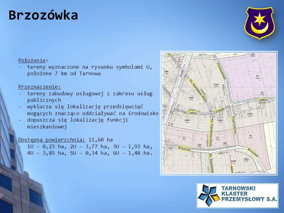 Położenie: - tereny wyznaczone na rysunku symbolami U, położone 7 km od Tarnowa Przeznaczenie: - tereny zabudowy usługowej z zakresu usług publicznych