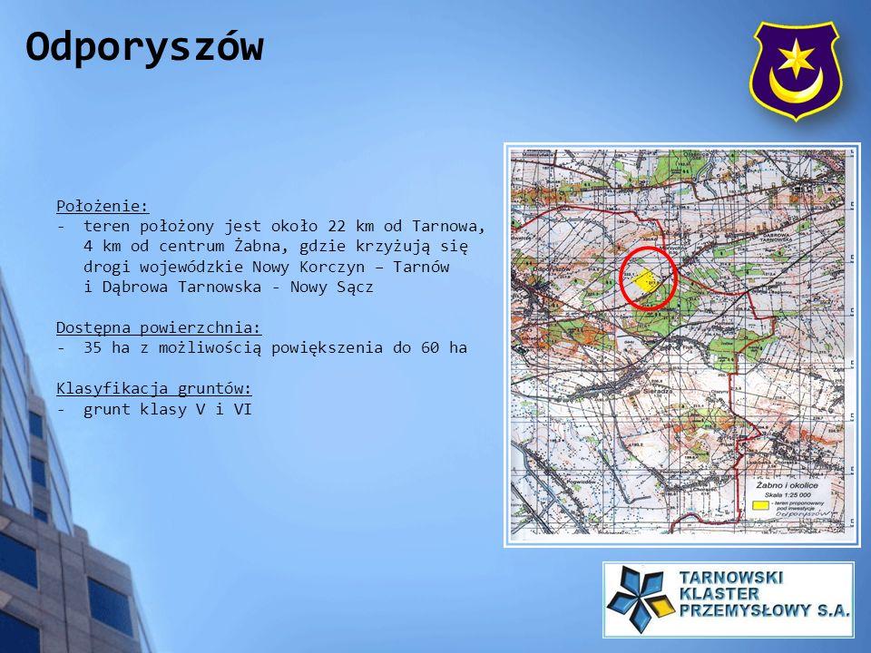 Położenie: - teren położony jest około 22 km od Tarnowa, 4 km od centrum Żabna, gdzie krzyżują się drogi wojewódzkie Nowy Korczyn – Tarnów i Dąbrowa T