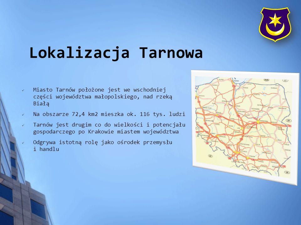 Lokalizacja Tarnowa Miasto Tarnów położone jest we wschodniej części województwa małopolskiego, nad rzeką Białą Na obszarze 72,4 km2 mieszka ok. 116 t