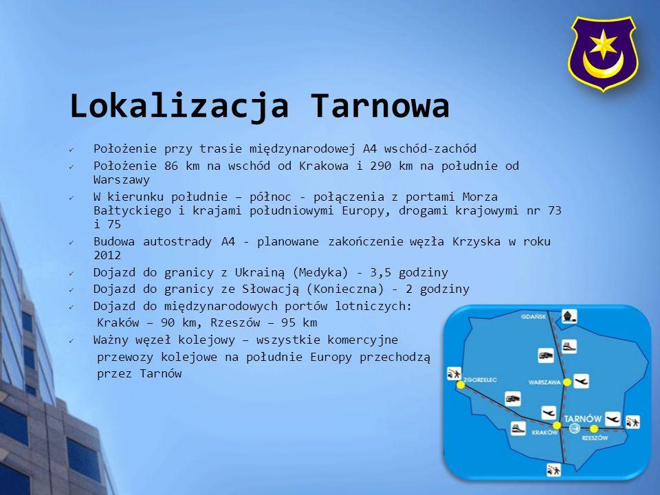 Położenie: - teren położony w północnej części Tarnowa - w jego bezpośrednim sąsiedztwie znajdują się drogi wylotowe z miasta, w tym droga krajowa nr 73 na Warszawę - przez teren Parku przebiegają czynne tory kolejowe, wykorzystywane przez działające na jego terenie przedsiębiorstwa, posiadające własne bocznice - w przyszłości w pobliżu zlokalizowany będzie zjazd z autostrady A4 Ukształtowanie i uzbrojenie terenu: - teren płaski.