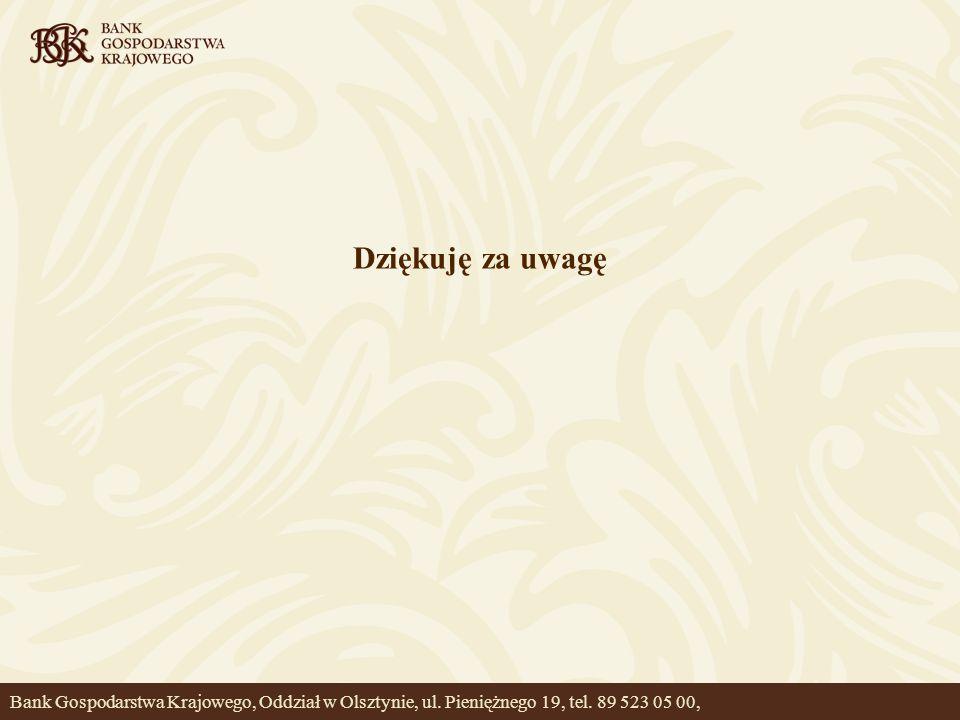 Dziękuję za uwagę Bank Gospodarstwa Krajowego, Oddział w Olsztynie, ul. Pieniężnego 19, tel. 89 523 05 00,